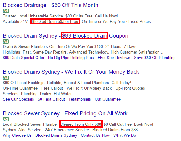 blocked drain ads costs sydney